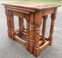 Quality Oak Large Narrow Nest of Three Coffee Table